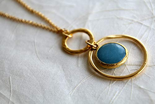Long Boho Charm Necklace for Women, Double Hoop with Blue Jade Stone Pendant made of Gold Plated Brass, Modern Handmade Designer Jewelry Birthday Gift (Charm Hoop Double)