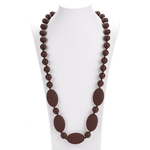 - Consider It Maid Silicone Teething Necklace for Mom to Wear - FREE E-BOOK - BPA FREE and FDA Approved - One Love (Chocolate)