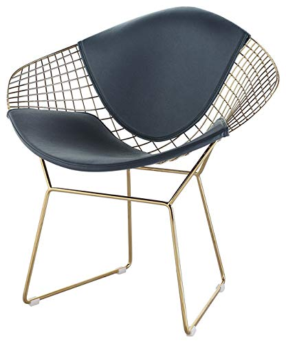 (Wire Mesh Bertoia Style Diamond Chair in Gold Finish)