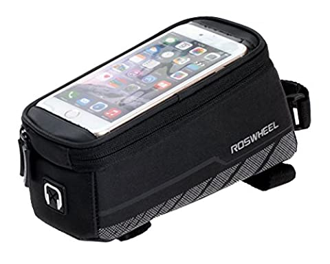 Roswheel Bicycle Frame Pannier & Front Tube Cell Phone Bag, Black - Front Pannier