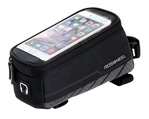 Roswheel Bicycle Frame Pannier & Front Tube Cell Phone Bag, Black Mountain Bike Bicycle Frame
