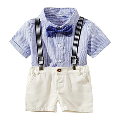 Boy Suitcases for Kids,Londony ❤ღ♕ Newborn Baby Boys Gentleman Clothes Rompers Small Suit Bodysuit Outfit with Bow Tie Blue