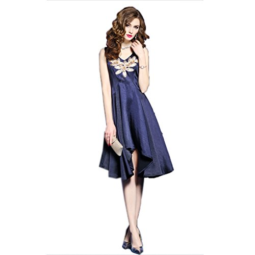 Shoulder Irregularity Women`s Dresses Blue Off Embroidery Dress cotyledon tBqwndXRWO