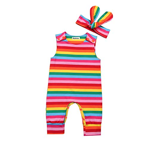 Infant Baby Girl Summer Rainbow Stripe One Piece Romper Bodysuit Clothes Set (Rainbow, 9-18 Months) - Outfit Infant One Piece Girls