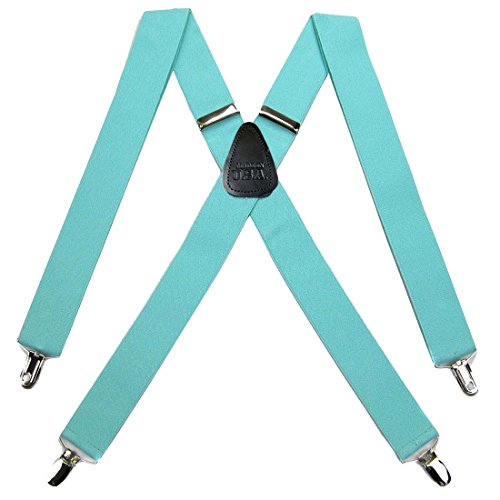 (SUS-42-TIFF - Solid Suspender for Men Made in USA X-Back Genuine Leather Trimmed clip end tuxedo suspenders - Aqua Blue)