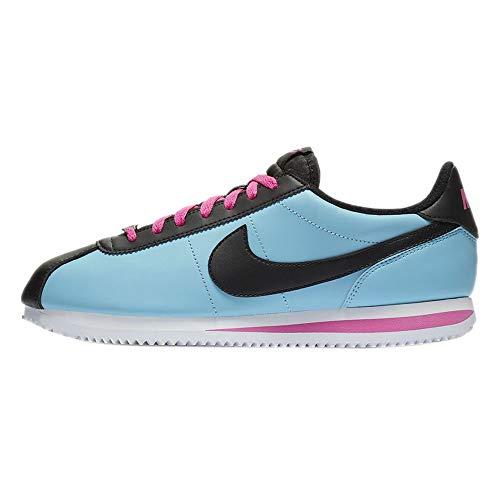 Nike Cortez - Men's Blue Gale/Black/Laser Fuchsia Leather Running Shoes 9.5 D(M) US