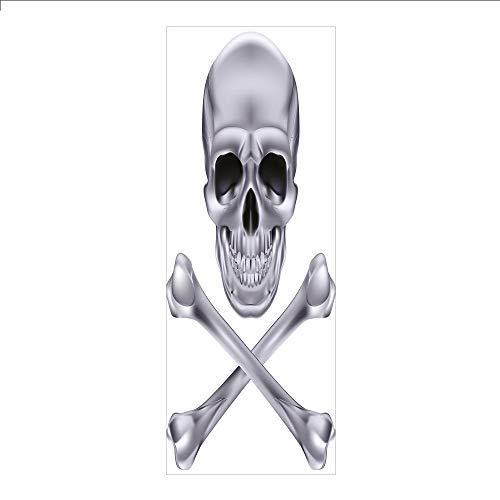3D Decorative Film Privacy Window Film No Glue,Silver,Vivid Skull and Crossbones Dangerous Scary Dead Skeleton Evil Face Halloween Theme Decorative,Dimgray,for -