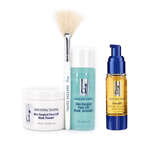 Distinction Non Surgical Face Lift Kit Lifts, Tightens, Tones Includes Firmalift Face and Eye Serum, Mask Powder, Mask Activator, and Brush