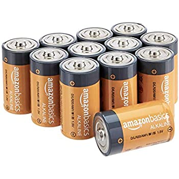 AmazonBasics D Cell 1.5 Volt Everyday Alkaline Batteries - Pack of 12 (Appearance may vary)