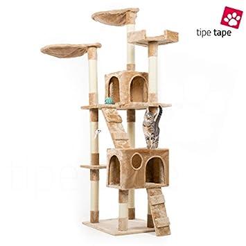 Rascador con cesto para gatos. Parque de juegos de árbol. Juego rascador para gatos, 170 cm, beige: Amazon.es: Bricolaje y herramientas