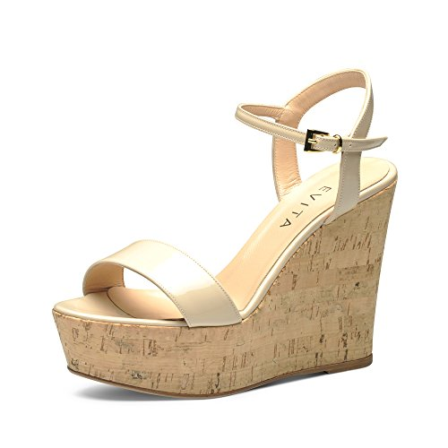 Evita Shoes Valeria Damen Keilsandalette Lack Beige