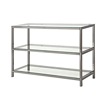Conrad Rectangle Console Table Glass Top Nickel