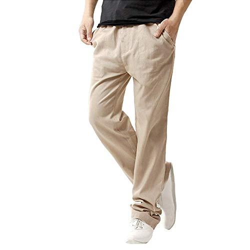Men's Casual Linen Pant with Drawstring Loose Fit Straight-Legs Stretchy Waist Beach Pants Summer Trousers Khaki