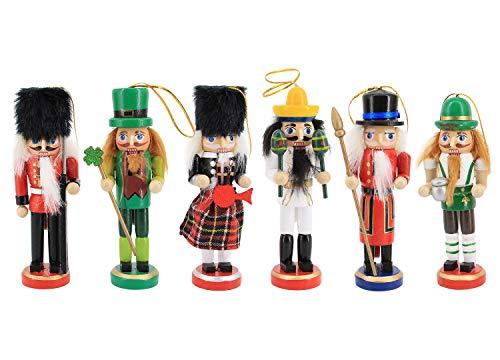 Liliam 6pcs Wooden Nutcrackers Soldiers Set Puppet Christmas Ornament Home Decoration