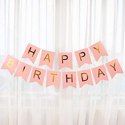 DevonVicky Happy Birthday Banners Pink Card with Shimmering Gold Letters Inflatable Party Decor and Event Decorations for Kids and Adults | Reusable, Ecofriendly Fun