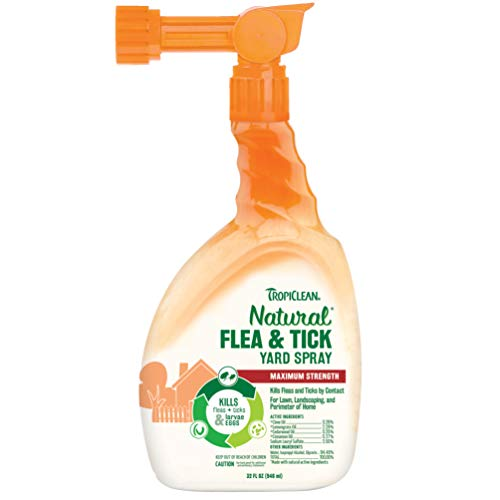TropiClean Natural Flea & Tick Yd Spray, 32 fl oz, Made in USA - 4 Pea-Approved Natural Essential Oils - Kills Up To 99% of Fleas, Ticks, Larvae & Eggs