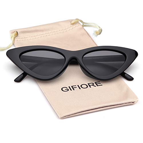 Gifiore Retro Vintage Cat Eye Sunglasses for Women Clout Goggles Plastic Frame Glasses (Black Frame Grey Lens, 51)