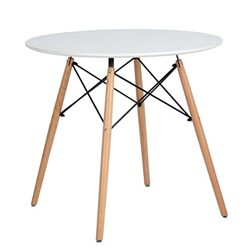 - Kitchen Dining Table White Round Coffee Table Modern Leisure Wooden Tea Table Office Conference Pedestal Desk