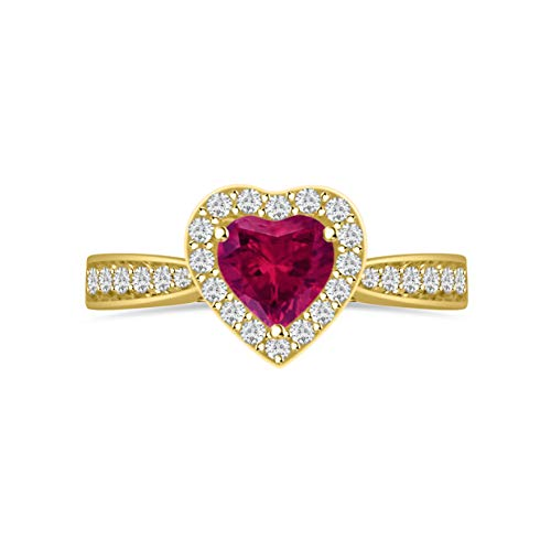 Diamond Scotch 14k Yellow Gold Plated 5mm Heart Cut Simulated Ruby Gemstone Birthstone Halo Heart Engagement Wedding Promise Ring for Her Love Gift ()