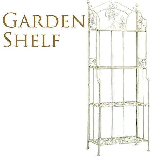 ガーデンシェルフ4段 アンティーク ホワイト W60×H160cm B017QX7C2W