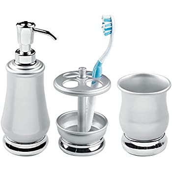 mDesign Metal Bath Accessories Set, Soap Dispenser, Toothbrush Holder Stand, Tumbler Cup - Set of 3, Pearl Silver/Chrome