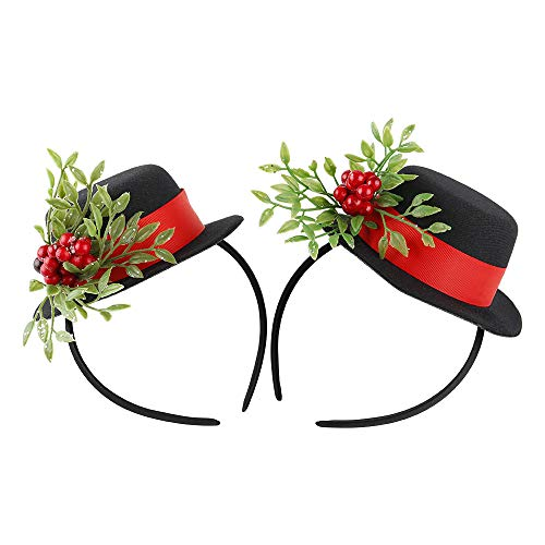 Butterfly Craze Mini Top Hat Headband for Girls & Women, Kids & Adults - Mistletoe Fascinator Party Hat to Top Off Halloween, Birthday & Christmas Frosty Snowman Costume, One Size Fits All (Set of 2)