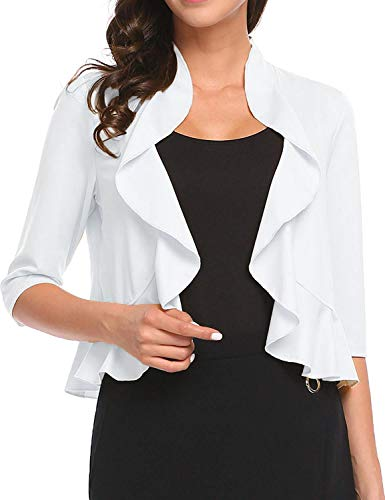 Women's Open Front Cropped Cardigan 3/4 Sleeve Casual Shrugs Jacket Draped Ruffles Lightweight Sweaters (White, Large) ()