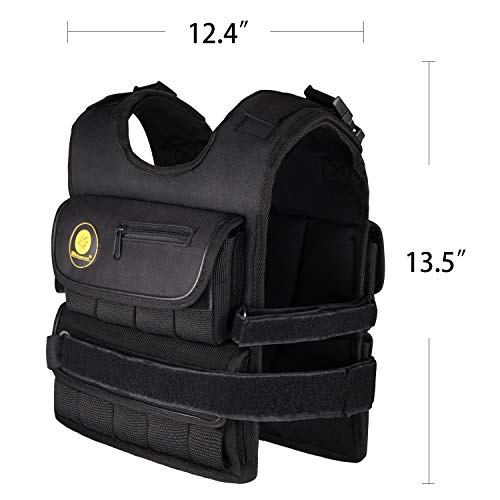 K2Elite Weighted Vest Short & Narrow Style for Men 10lbs~60lbs Adjustable Cross Training Workout Black (50lbs) by K2 Elite (Image #1)