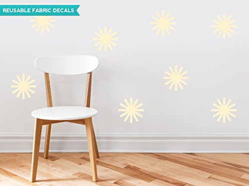 Sunny Decals Starburst Fabric Wall Decals (Set of 8), Ivory
