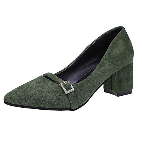 DIMAOL Chaussures Femmes de Confort Automne PU Talon Bloc Talons Bout Pointu Pour UNE Tenue Décontractée Vert Armée Gris Noir,Gris,US8/EU39/UK6/CN39