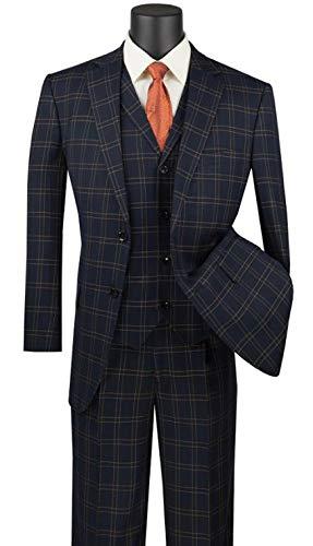 VINCI Glen Plaid Pattern 2 Button Single Breasted Classic Fit Suit W/Vest V2PD-1-Black-44L