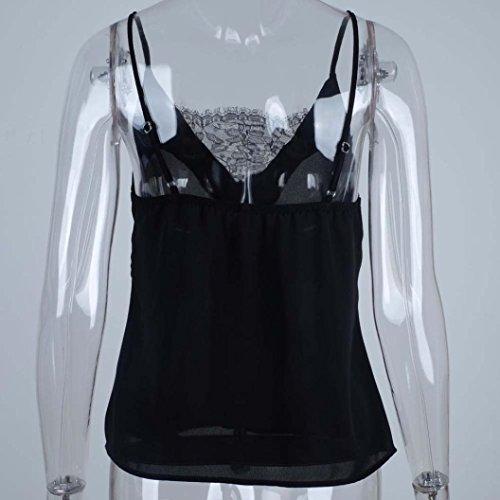 Manches Dentelle Lonupazz Femmes shirt Tops A Bretelle gorge Noir Sans Soutien Blouse Veste Chemise Tank Débardeurs T Camisole zCzXqwr