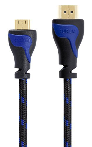 Aurum Cables High Speed HDMI to HDMI Mini Cable 2.0 with Ethernet - 3 Feet - Supports 3D & Audio Return Channel - 5 Pack + 3 Velcro Ties by Aurum Cables