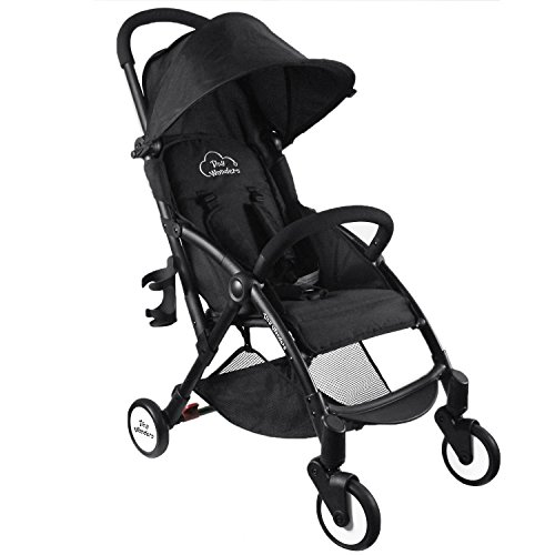 Black Deluxe Dual-Brake Single Baby Stroller, Portable Light Weight Travel Pram,...