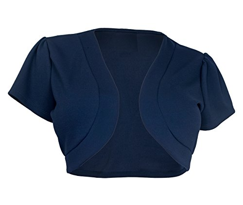 EVogues Plus size Open Front Short Sleeve Bolero Navy - 1X
