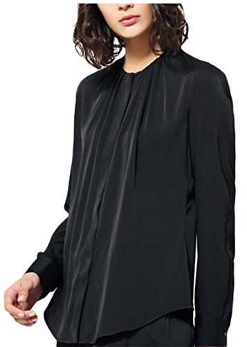 Black Long Sleeved Silk Top (ainr Women Long-Sleeved Top Solid Silk Ruched Bust Cozy Casual Blouse Black S)