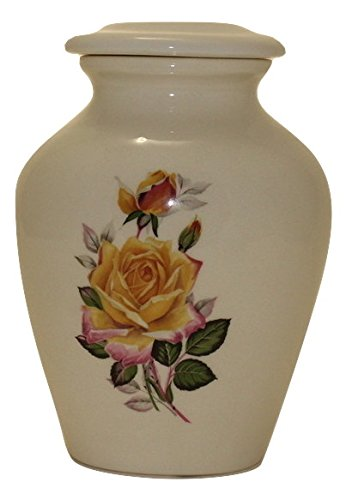 Yellow Rose Urn- Cremation Urn or Keepsake for Ashes - Hand Made Pottery (x-Small 29 Cubic Inches)
