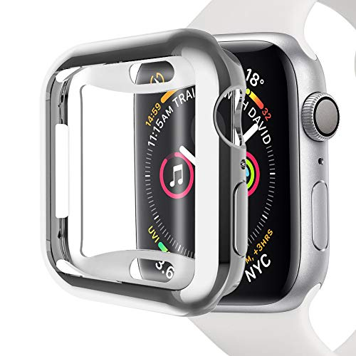 Bullker Compatible with Apple Watch 4 40/44mm TPU All Around Protective Case Cover Bumper Frame Protector - Silver 44mm 202 Silver Case Watch