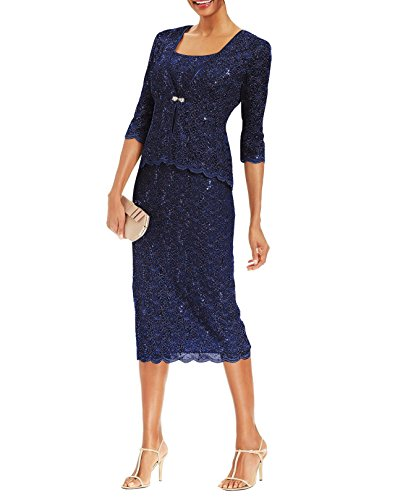 Two Piece Bride Dresses Mother The Of (R&M Richards Womens 2 Piece Lace Swing Jacket Dress - Mother of The Bride Wedding Dresses (14, Navy))