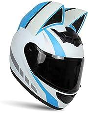 WWJ Bright Black - Kask motocyklowy Cat Ears dla mężczyzn i kobiet, Spersonalizowany modułowy kask Cool Girl Full Face, certyfikat DOT, Kask motocyklowy dla dorosłych Motocross Scooter Stree