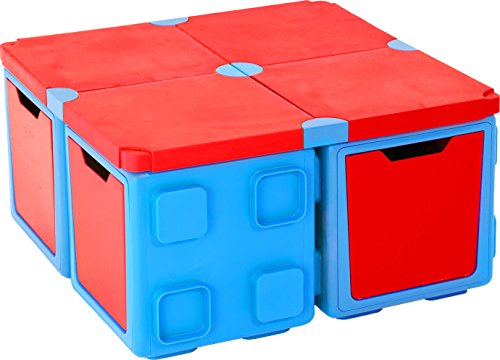 Chillafish BOX and BOXTOP Bundle: Connectable Toy Storage and Play System, Table Pack, Blue/Red by Chillafish
