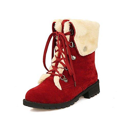 Agoolar Kvinners Lave Hæler Frostet Lav-top Solid Blonder-up Boots Med Knute Rød