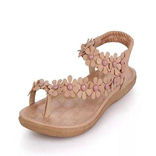 Zapatos Apricot mujer de Sandalias planas Beige playa de GAOLIXIA dulce Sandalias de estudiante antideslizantes Verano Blanco Sandalias flor Nuevo Clip xPq5BwnHqd