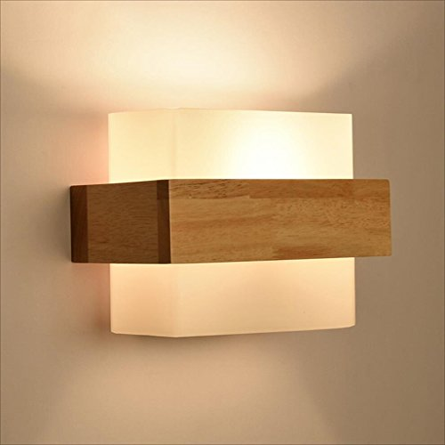 Chi Cheng Fang Electronic business Tools & Home Improvement/Lighting & Ceiling Fans Wall lamp glass Wooden modern Simple Bedroom lights Bedside lamp Stairs lights E27 Square wall lamp 40W A+ by Chi Cheng Fang Electronic business