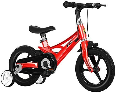 """YSA キッズバイクキッズ自転車男の子と女の子用のペダル、取り外し可能なトレーニングホイール、ブレーキ、12""""そして14""""インチホイール、赤い自転車"""