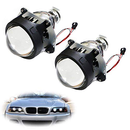 - iJDMTOY (2) 3.0-Inch H1 Bi-Xenon HID Projector Lens For Headlights Retrofit, Custom Headlamps Conversion