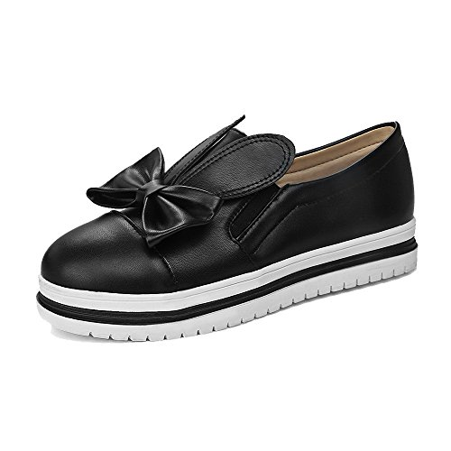 VogueZone009 Women's Solid PU Low-Heels Round-Toe Pull-On Pumps-Shoes Black