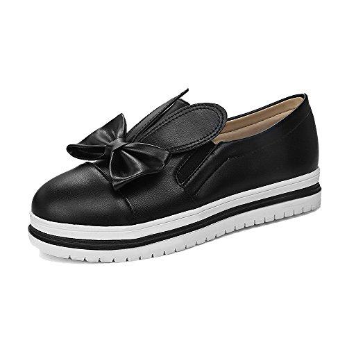 Noir Légeres Deux à Nœuds Femme Chaussures Boucles Souple Rond AllhqFashion Matière w4zvxt5