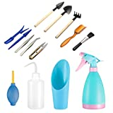 14 Pieces Succulent Plants Tools, PATHONOR Mini Garden Hand Tools Miniature Fairy Garden Tools Kit Bonsai Tools Planting Set with Scissors, Mini Rake, Shovel, Transplanting Tool Watering Can etc