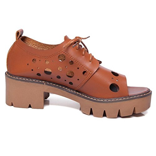 COOLCEPT Women Lace Up Sandals Shoes Brown zu6W9NDka